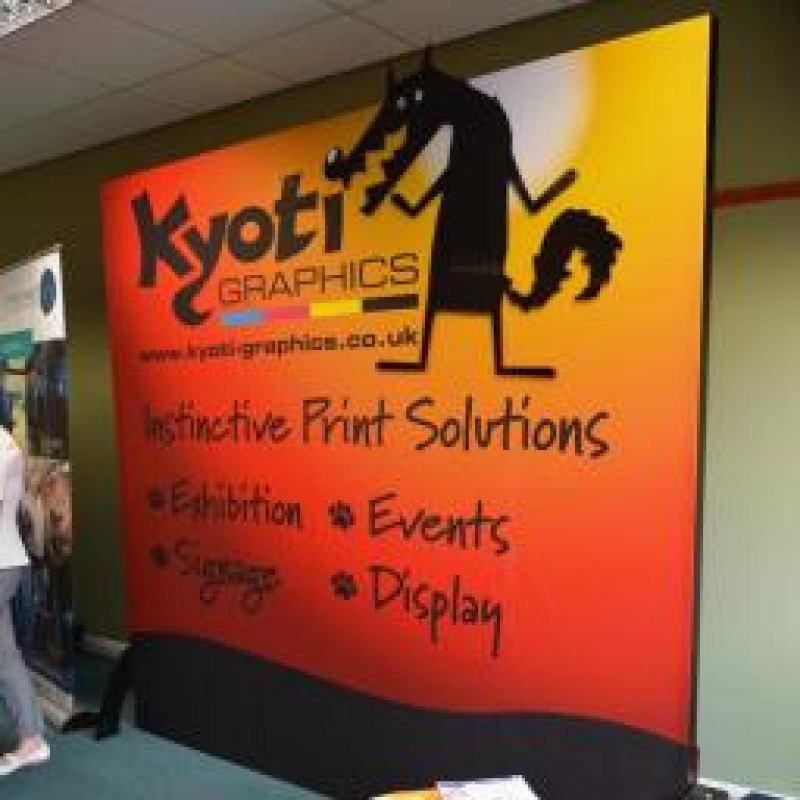 Eye-catching Kyoti Graphics freestanding printed fabric display