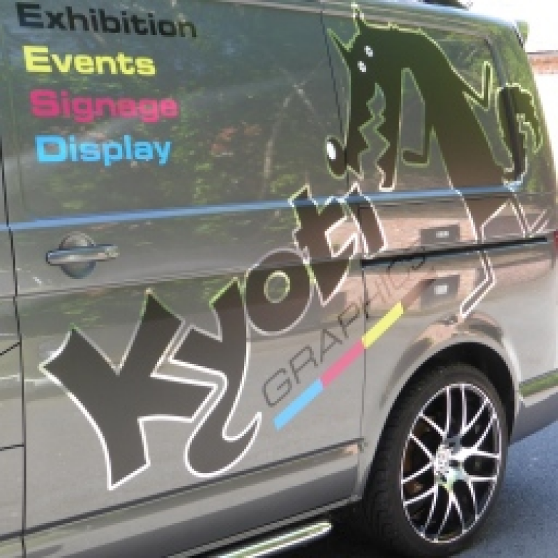 Vehicle graphics for new van for Kyoti Graphics installation team