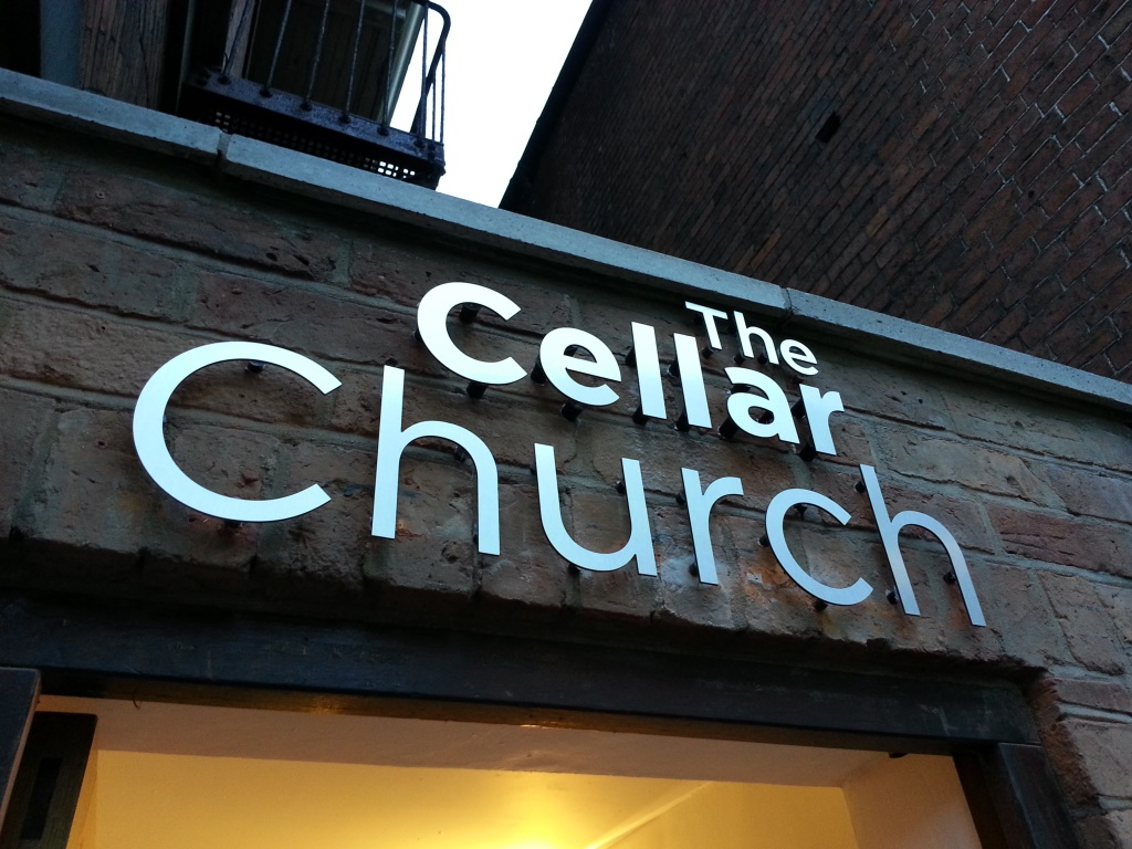 The Cellar Church Brushed Alum Dibond External Signage
