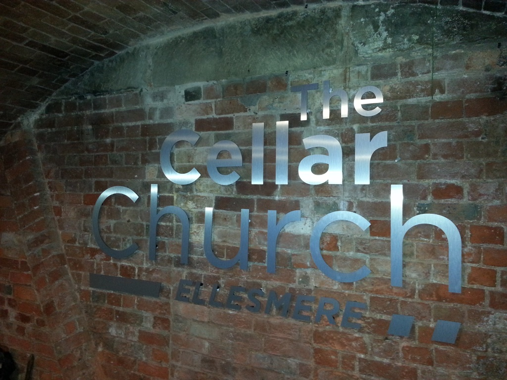 The Cellar Church Brushed Alum Signage Internal
