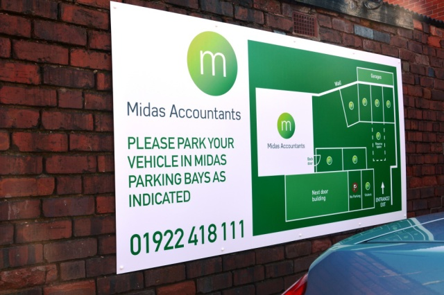 Midas Accountants Wall Mounted Dibond Sign